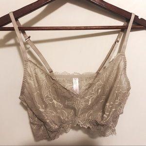 Gilligan & O'Malley Grey Lace Bralette Size L